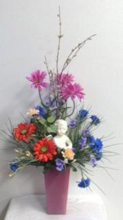 AF Pink Vase arrangement with Cherub