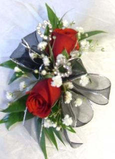 AF Double Delight Wrist Corsage with Black Bow