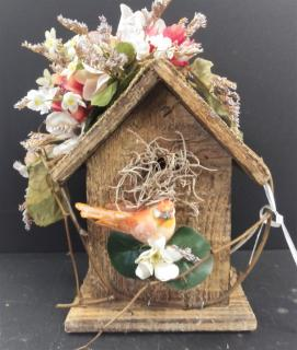 AF Wooden Birdhouse In Ivory & Peach