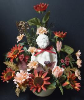 AF Fall Colored Cherub Arrangement