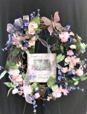 AF Pink & Blue Keepsake Wreath With Picture Frame