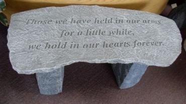 Weathered Cement Memorial Bench 3-Those we have held