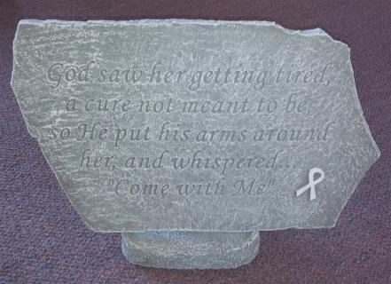 "Weathered Cement Stone ""God Saw Her\"" With Breast Cancer Symbol"