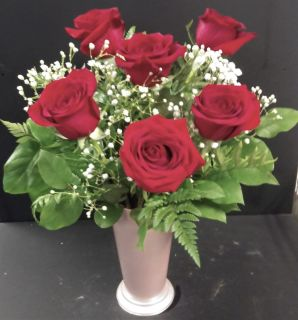 AF Half Dozen Roses With Pink Container