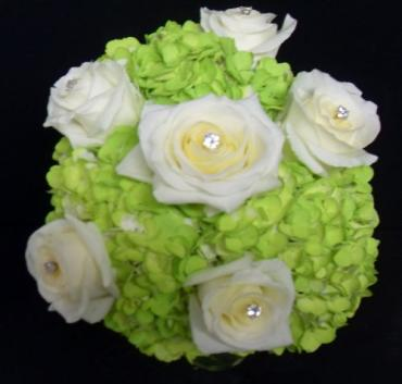 AF Hydrangea and Rose Bouquet with gem pics