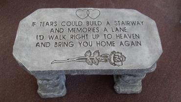 Weathered Cement Memorial Bench 5-If tears could build a stairwa