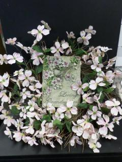 AF Pink Dogwood Wreath, Grandmother Plaque