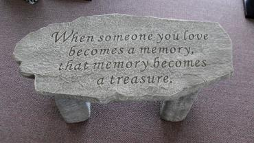Weathered Cement Memorial Bench 1-When someone you love