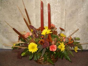 Seasonal Centerpiece with 2 Candles