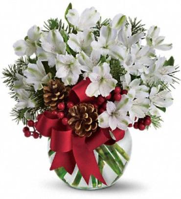 AF Alstromeria Bubble Bowl with White Lilies