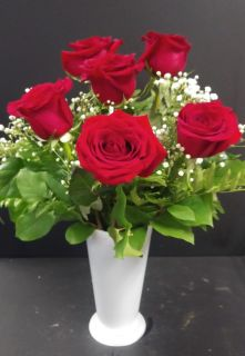 AF Half Dozen Roses With White Container
