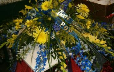 Blue and Yellow Casket Spray