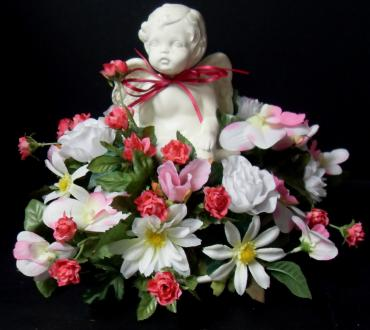 AF Pink and White Cherub Arrangement