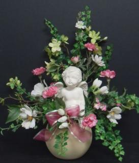 AF Cherub with Green and Pink Flowers