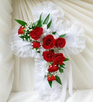 Cross Pillow with Red Sweetheart Roses