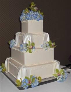 Cake with Orchids and Hydrangeas