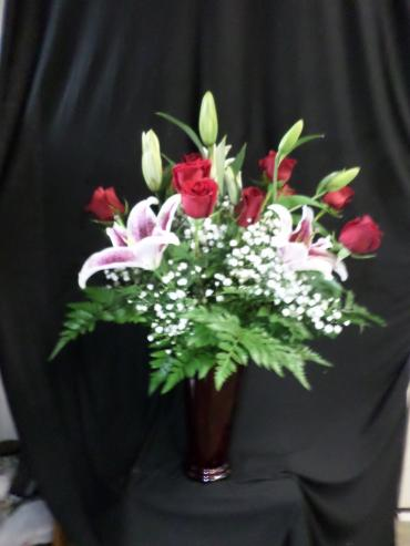 Red Rose Vase with Stargazer Lilies