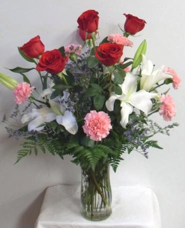 AF Romantic Rose, Lily and Carnation Bouquet