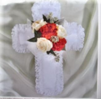 Cross Pillow with Roses and Carnations
