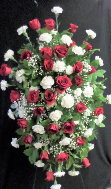 AF Red Rose and White Carnation Spray (Large)