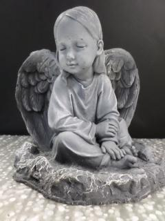 AF Weathered Cement Sitting Angel