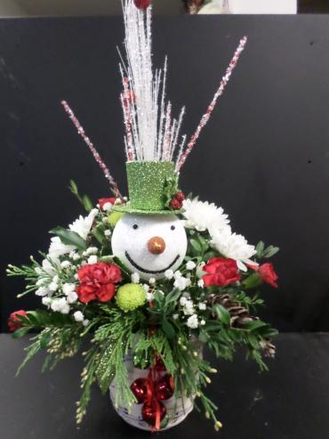 Jingle Bell Snowman with pine cones
