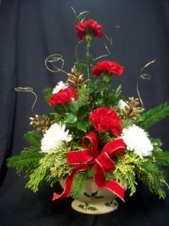 AF Ceramic Holly Bowl Bouquet