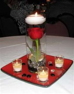 Cylinder Vase with Floating Candle