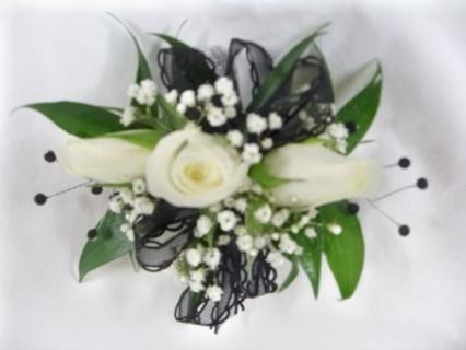 Arnold Florist Black and White Sparkle Wrist Corsage