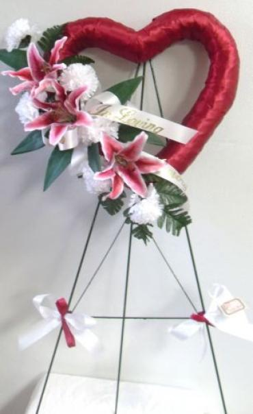 Red Heart with Stargazer Lilies