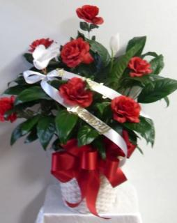 AF Peace Lily With Red Roses