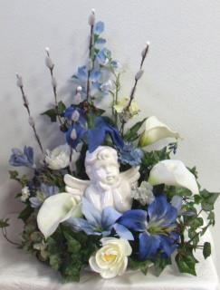 AF Cherub Arrangement with Calla Lillies