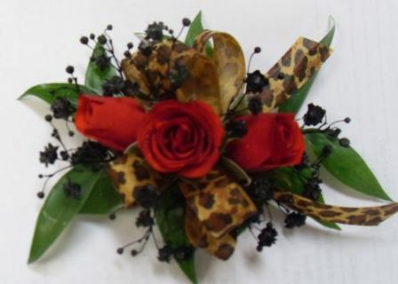 AF Leopard Print Wrist Corsage with Red Roses