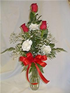 AF Carnation and Rose Vase Arrangement