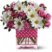 AF Cube with Pink Sweetheart Roses and Daisies