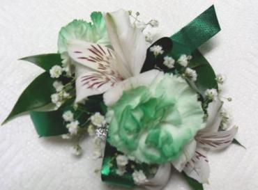 Arnold Florist Green tipped Corsage