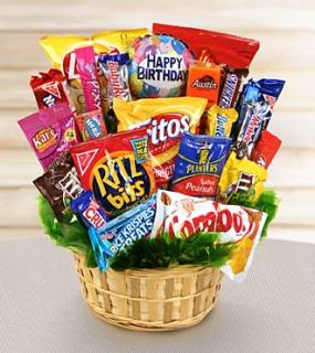Sweets in Bloom? Happy Birthday Snack Attack Basket
