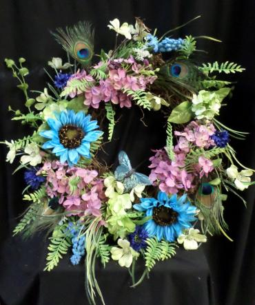 AF Permanent Teal/Peacock feather Wreath