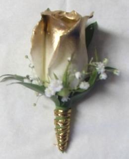 AF Gold tipped Rose Bout with stem wrap