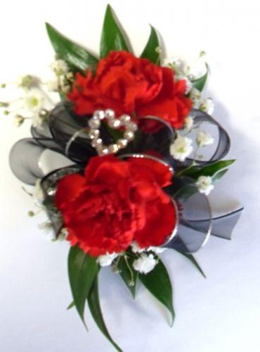 AF Red Mini Carnation Wrist Corsage with Rhinestone Heart