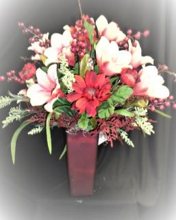 Red Vase of Permanent Flowers