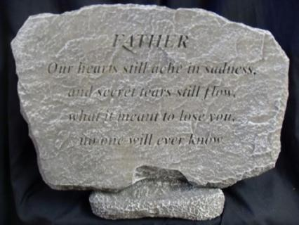 "Weathered Cement Stone ""Father\"""
