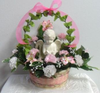 Cherub Arrangement with Bells of Ireland