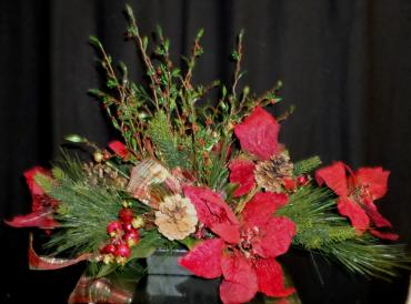 AF Permanent Poinsettia and Berry Arrangement