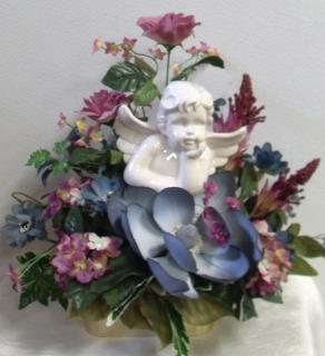 AF Blue and Mauve Cherub Arrangement