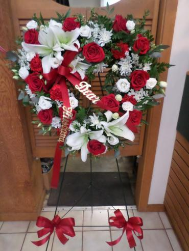 AF Heart Wreath with Red Roses