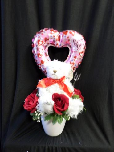 AF Bear With A Balloon and Roses
