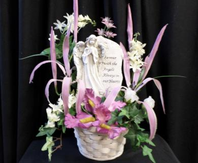 Keepsake Angel Statue with Silk Flowers 1
