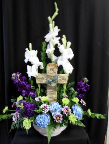 Comforting Bouquet With Cross