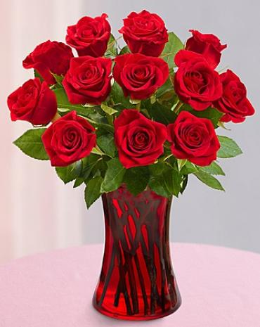 AF Red Vase with 12 Roses